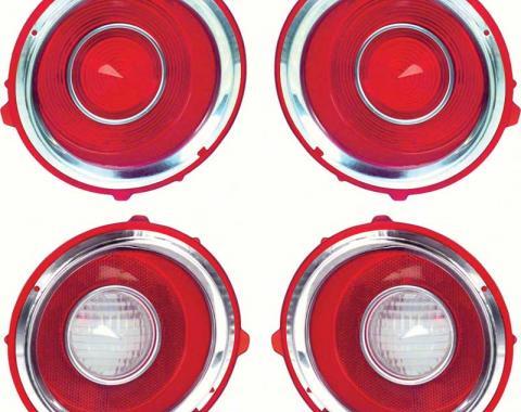 OER 1970-71 Camaro RS Tail Lamp/Back Up Lens Kit with Chrome Trim Ring (1st Design) *R528