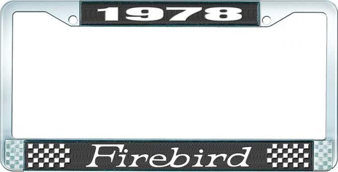 OER 1978 Firebird License Plate Frame - Black and Chrome with White Lettering LF2317801A