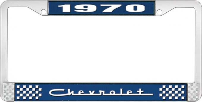 OER 1970 Chevrolet Style # 5 Blue and Chrome License Plate Frame with White Lettering LF2237005B