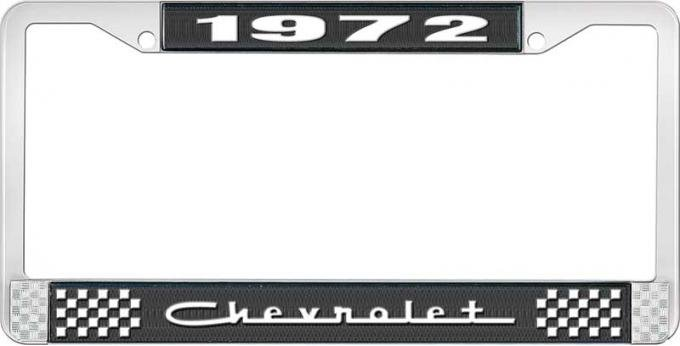 OER 1972 Chevrolet Style # 5 Black and Chrome License Plate Frame with White Lettering LF2237205A