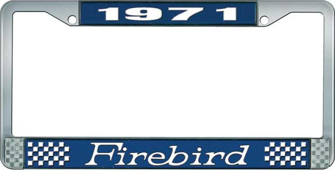 OER 1971 Firebird License Plate Frame - Blue and Chrome with White Lettering LF2317101B