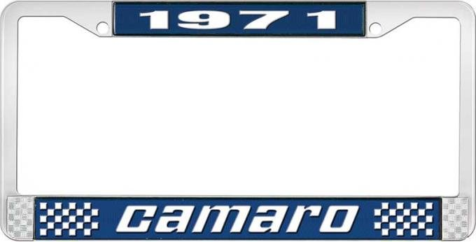 OER 1971 Camaro Style #2 License Plate Frame - Blue and Chrome with White Lettering LF3537102B