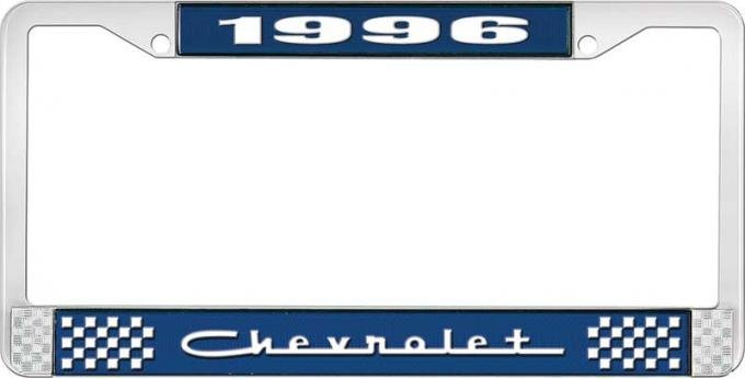 OER 1996 Chevrolet Style # 5 Blue and Chrome License Plate Frame with White Lettering LF2239605B