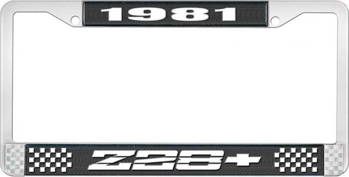 OER 1981 Z28 License Plate Frame - Black and Chrome with White Lettering LF3548101A