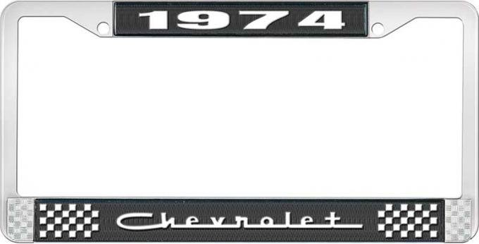 OER 1974 Chevrolet Style # 5 Black and Chrome License Plate Frame with White Lettering LF2237405A