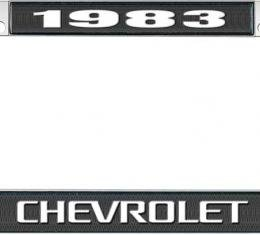 OER 1983 Chevrolet Style #3 - Black and Chrome License Plate Frame with White Lettering *LF2238303A