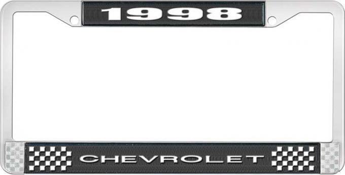 OER 1998 Chevrolet Style # 1 Black and Chrome License Plate Frame with White Lettering LF2239801A