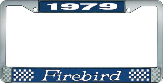 OER 1979 Firebird License Plate Frame - Blue and Chrome with White Lettering LF2317901B