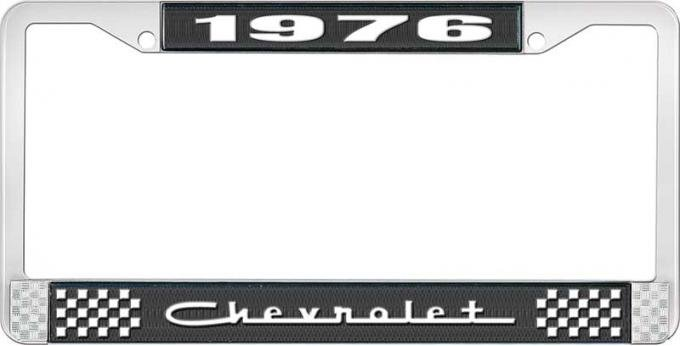 OER 1976 Chevrolet Style # 5 Black and Chrome License Plate Frame with White Lettering LF2237605A