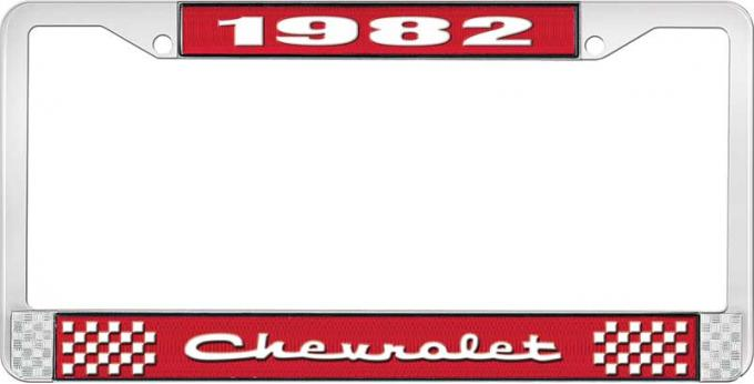 OER 1982 Chevrolet Style # 2 Red and Chrome License Plate Frame with White Lettering LF2238202C