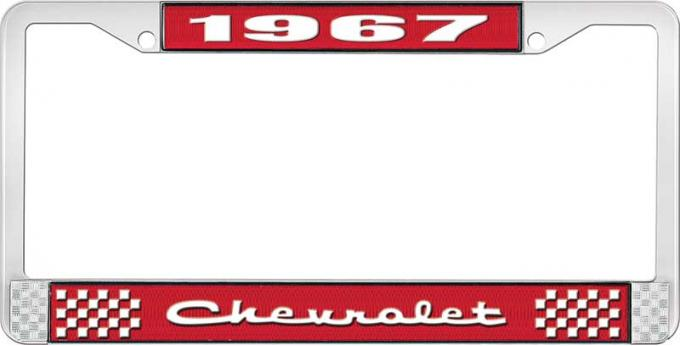 OER 1967 Chevrolet Style #2 Red and Chrome License Plate Frame with White Lettering LF2236702C